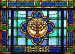 canvas print picture - stained glass menorah