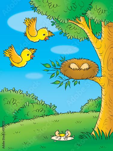 Poster Oiseaux, Abeilles yellow birds