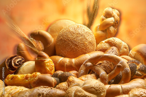 Deurstickers Brood group of different bread products photographed wit