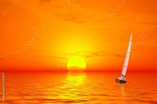 Fényképezés  sunset. lonely yacht