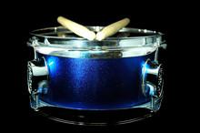 Blue Drum And Drumsticks
