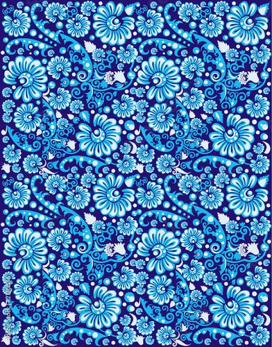 Fotografie, Obraz  a blue flower pattern