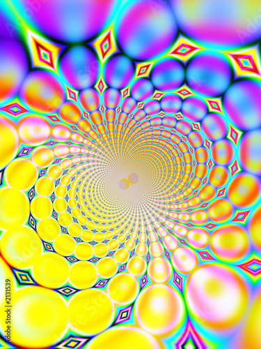 Poster Psychedelique retro spiral background (purple and yellow)