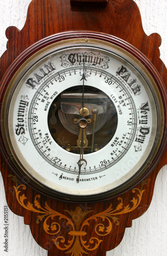 Photo old aneroid barometer.