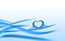 Blue Valentines Day Wave Heart Background