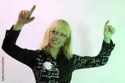 Valokuva  woman touching a virtual screen