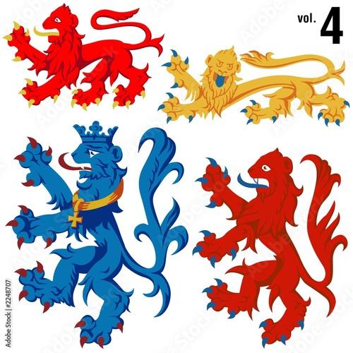 Poster Chambre d enfant heraldic lions vol.4