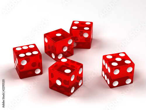 six red glass dices Poster