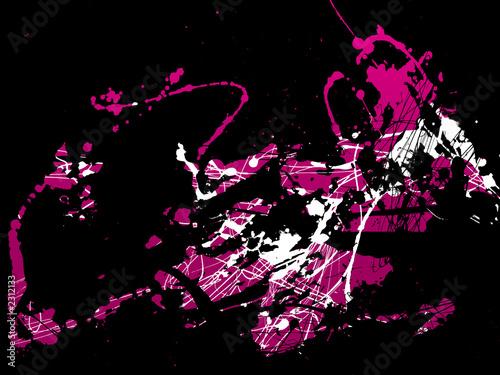 Garden Poster Pink abstract zen ink painting graphic
