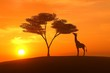 canvas print picture giraffe asunset