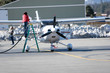 Leinwandbild Motiv small airplane maintenance