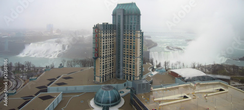 niagara falls - big tower in front of the falls - panorama #2368986