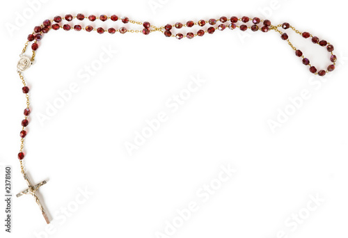 rosary beads isolated on white Fototapet