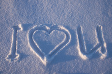 """i Love You"" Written On A Snow"
