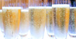 canvas print picture - group of champagne glasses filled with bubbles