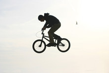 Bmx Bicycler Jumping In The Air