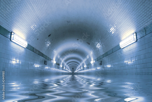 Wall Murals Tunnel water is coming...
