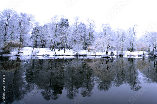 Photo Stands Dark grey icy lake in winter