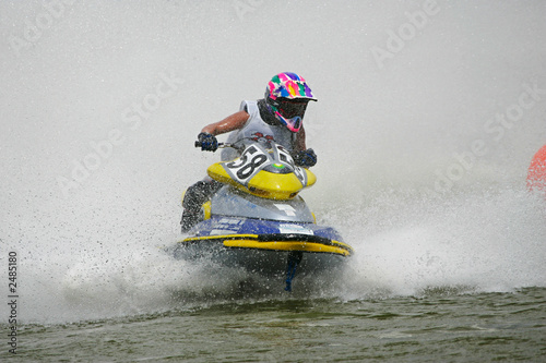 Garden Poster Water Motor sports man rushes on a jetbike