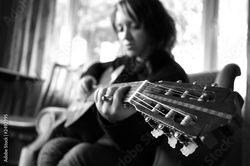 girl with guitar Tablou Canvas
