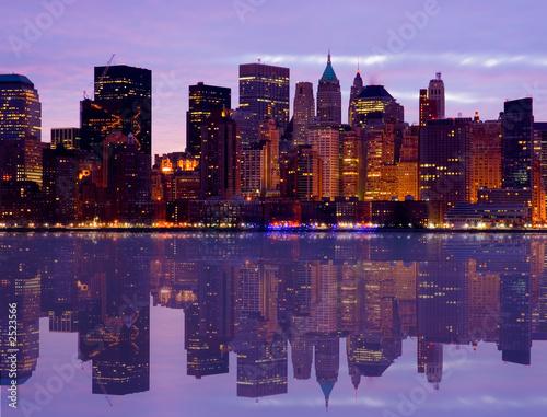 Foto-Kassettenrollo premium - early morning manhattan skyline with water reflect