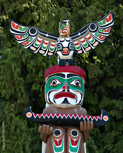 Poster Indiens totem pole