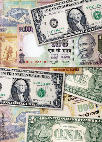 Indian Rus And Us Dollars Poster