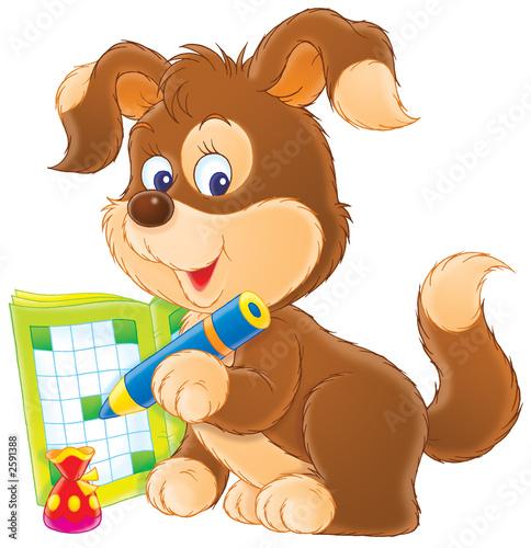 Staande foto Zoo puppy crossword