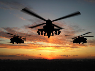 Fototapeta silhouette of helicopter