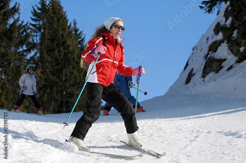 Fotografie, Obraz  ski femme débutante