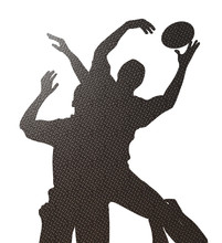 Rugby Lineout Silhoutte Checke...