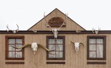Western Log Home And Skull Gateway