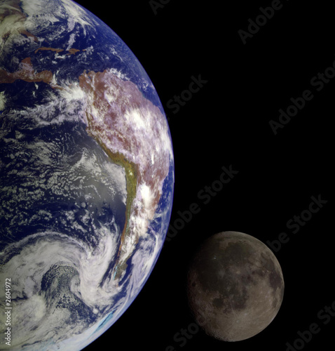 Deurstickers Nasa earth & moon