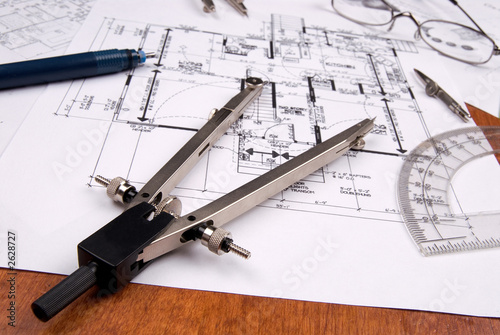 Fotobehang Tuin engineer, architect or contractor plans and tools