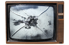 An Old Trashed Tv With A Smash...