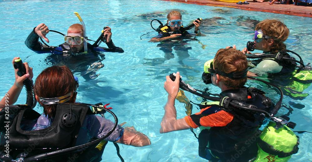 Fototapeta scuba diving lesson