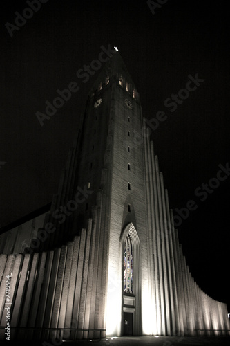 hallgrimskirkja church at night Slika na platnu