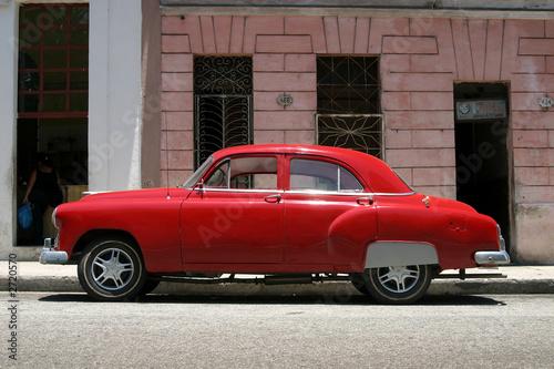 Türaufkleber Autos aus Kuba vintage red car, havana