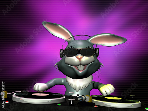 Foto-Stoff - e bunny spinning some vinyl (von Jeffrey Collingwood)