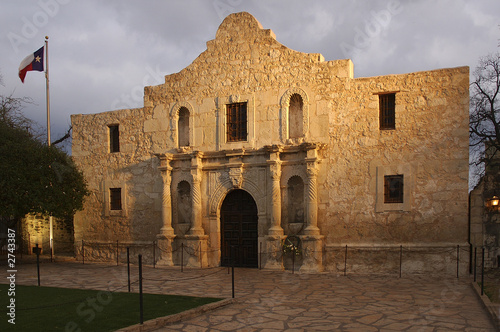 the alamo blazing in the light.