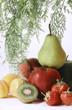 poire, pommes, kiwi, fraises et abricots
