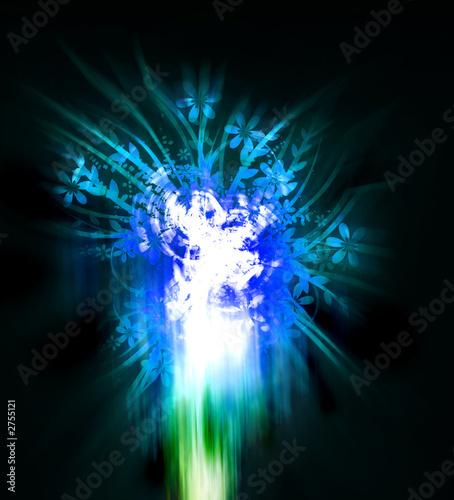 Fotobehang Fractal waves blue fire background