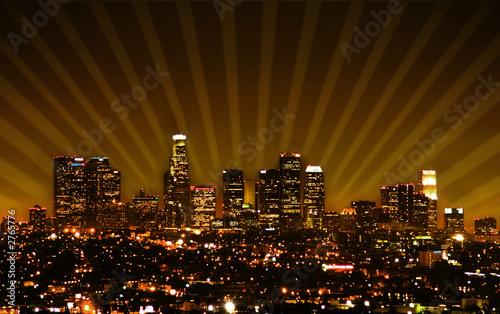 Photo  retro styled photo of the los angeles skyline
