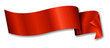 canvas print picture - red ribbon / banner