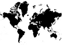Detailed B/w Map Of The World.