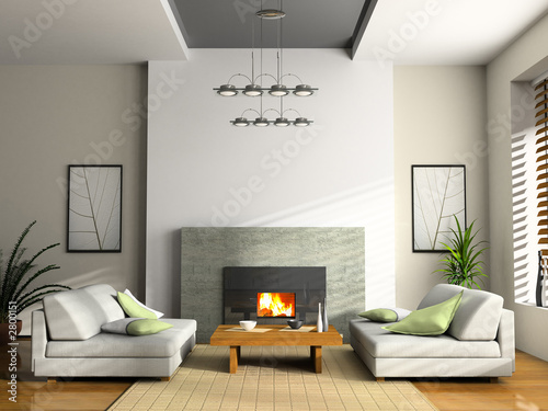 Fotografía  home interior with fireplace and sofas 3d rendering