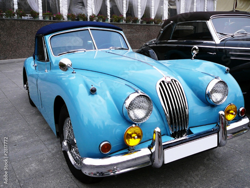 Old cars blue cabriolet