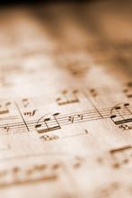 Sheet Music In Sepia Tone