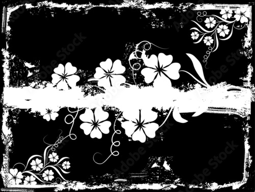 Staande foto Bloemen zwart wit grunge floral background