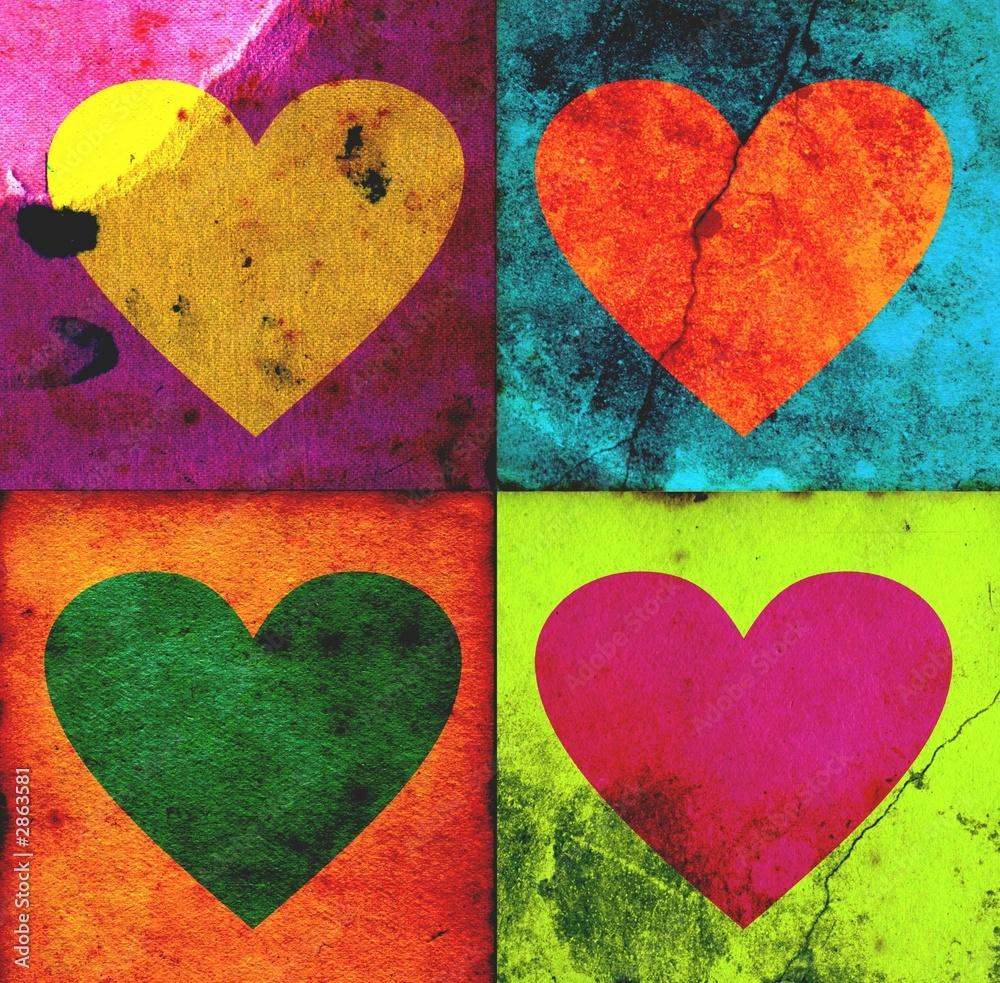 Fototapety, obrazy: 4 grunge hearts